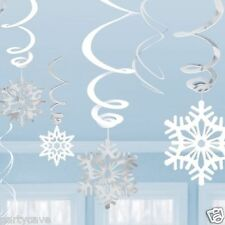 12 SNOWFLAKE CHRISTMAS PARTY HANGING SWIRLS DECORATION  FROZEN PARTY