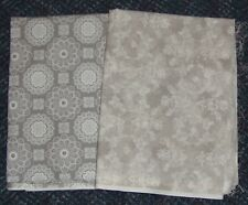 Light Taupe & White Print 100% Cotton Fabrics - 2 Pieces Total 2 1/4 yards -NEW!
