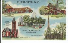 "CHARLOTTE, N.C.""CITY OF BEAUTIFUL CHURCHES""  Presbyterian  multi-view postcard -"