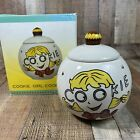 CERAMIC GOOGLIE EYED COOKIE GIRL COOKIE JAR WITH CUPCAKE TOP 24.5'x9'x5.5'