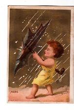 L Moulthrop Dry Goods MARS March Rain Umbrella Gold Vict Card c1880s