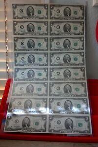 1995 UNCUT SHEET $2.00 Bills 16 Notes on Sheet