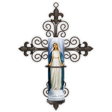 LED Flameless Prayer Candle W/ Cross Sconce, Lady of Grace, Automatic 6 HR Timer