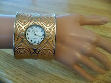 BIG BOLD WIDE FASHION CUFF BRACELET WATCH ORANGE GOLD AZTEC SUN DESIGN NWOT