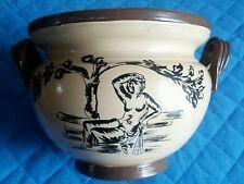 VASO Ceramica di colore BEIGE e MARRONE con decori motivi greci NERI - ANNI '90
