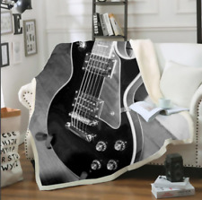 Hot Electric guitar 3D Print Sherpa Blanket Sofa Couch Quilt Cover throw blanket