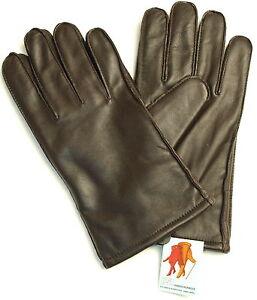 Handschuhe Leder Herren RSL Fingerhandschuhe Winter warm Fleece Futter Braun
