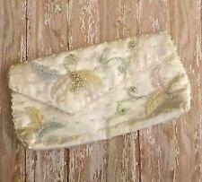 Evening Bag 50s Vintage White Satin Beaded Clutch / Handbag / Purse