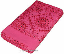Pink King Handmade Bedspread Mirror Embroidered Cotton Quilt Coverlet INDIEN Art