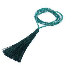 Boho Bohemian Beaded Tassel Pendant Necklace Women Long Sweater Chain WE