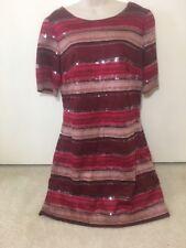 Chelsea & Violet Dress Red Burgundy Striped Sequin Dress Sz L NWT $138 NEW