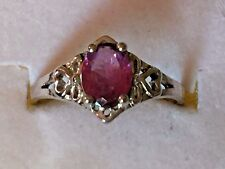 with Amethyst Stone. Size 8 Vintage Sterling Silver Filigree Ring