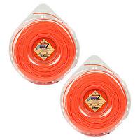 """LoNoiz LN095DLG .095"""" Quiet Spiral Twist 2 Pack String Trimmer Line 285FT Orange"""