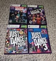 Just Dance 3/2015/Dance Central 1 & 3 Xbox 360 Lot Bundle Kinect