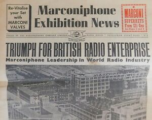 1937 Marconiphone Exhibition News, Tottenham Court Road, London. Newspaper.