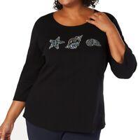 Karen Scott Womens Top Black Size 2X Plus Knit Seashell Embellishment $39 356
