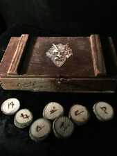 Old Devil Box of Wood Runes Antique Witch Demon Vintage Occult Witchcraft Pagan