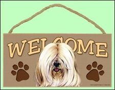 "Tibetan Terrier (white) 10"" x 5"" Wooden Welcome Dog Sign"