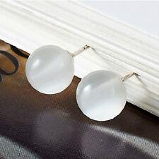 Earrings - White Opal stud earrings on 925 Sterling Silver Platinum Plating
