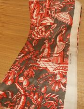 """BEAUTIFUL ANTIQUE ASIAN PATTERN CLOTH~24"""" x 51""""~ALL VAT COLORS~MAN & WOMAN~RED"""