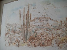 "Cactus Desert Drawing Print under Glass wood frame  10 x 13 ""Steven V Canizales"