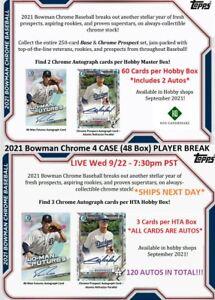 Mike Trout 2021 Bowman Chrome 4 CASE 2 Hobby/2 HTA 48 Box PLAYER BREAK