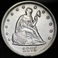 1875-S Seated Liberty Twenty Cent Piece CHOICE AU+/UNC FREE SHIPPING E359 KNCT