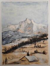 Tableau peinture Ricardo ZAMORANO montagne sommet enneigé sapin chalet neige