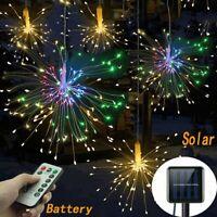 100/200LED Solar/Battery Hanging Light Starburst Firework Fairy String Xmas DIY