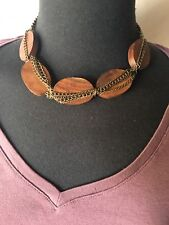 Wood Bead Choker Necklace With Chain - New