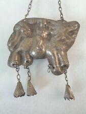 Unique Dark Silver Tone, Figural, Primitive Amulet Pendant.