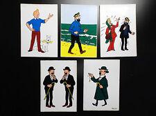Lot de 5 cartes postales Tintin autocollantes 1973 TBE