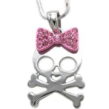 Halloween Girl Skull Crossed Bones Pink Bow Ribbon Pendant Necklace Charm n1011p