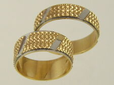 14 KT SOLID GOLD HIS & HERS TWO PIECE BRIDE GROOM WEDDING BANDS BRIDAL SET RINGS
