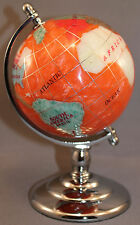 Genuine Multi-Gemstone Desktop Globe Chrome Base Salmon Red Globe Free S & H
