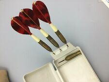 Vintage Unicorn Brass Red Feather Darts in Case Made in England