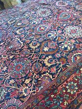 Spectacular Rare Pre 1900 Antique vintage Pearsian Area Rug 5' x 7' floral navy