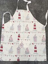New Boats And Lighthouses Pink Full Apron