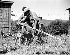 Farmer Sharpening Mowing Machine Blade, Vermont - 1936 - Historic Photo Print