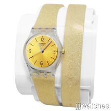 New Swatch Lady GOLDENDESCENT Glittery Silicone Double Wrap Watch 25mm LK351C