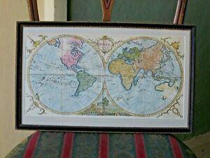 1776 World Map Kitchin New Holland Siam Jesso Terra Australis Handcolour Framed