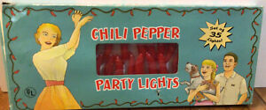 VINTAGE 1992 HOT CHILI PEPPER PATIO PARTY LIGHTS New Unused 35 Lights