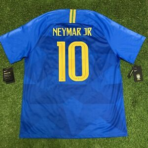 Brand New 2018 Brazil Neymar Jr Blue Away Jersey Shirt Kit Nike XL Tags 10 Fifa