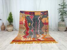 Vintage Moroccan Tribal Handmade Rug 4'x5'7 Abstract Berber Gray Orange Wool Rug