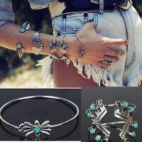 Boho Women Tibetan Silver Green Turquoise Open Bangle Cuff Bracelet Jewelry Gift
