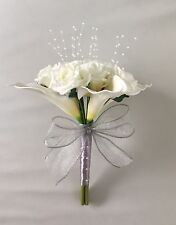 ARTIFICIAL IVORY CALLA LILY ROSE WEDDING FLOWERS BRIDESMAID BOUQUET SILVER