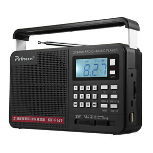 Portable Radio LCD Digital AM FM SW USB TF MP3 Player Speaker Rechargeable