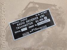 plate plaque radio us ww2 BC659 A ALU jeep