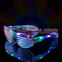 12 x LED Shutter Shades Flashing Glasses Rave Club Party Fancy Dress Light Up