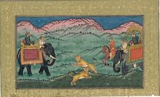 Indian Hunting Art & Painting Of Mughal Emperor Shooting The Tiger On Paper